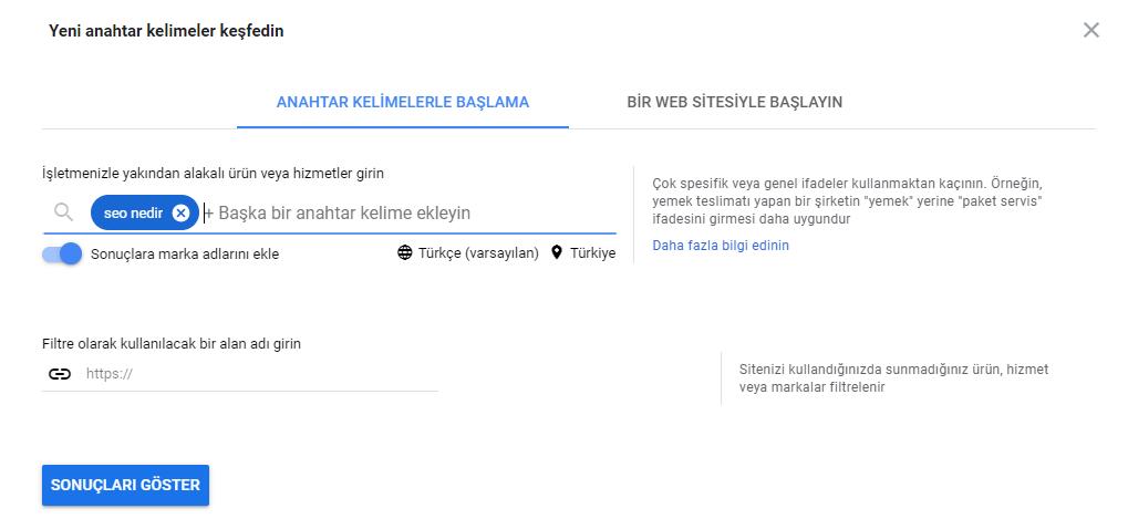 Google Anahtar Kelime Planlayıcı.